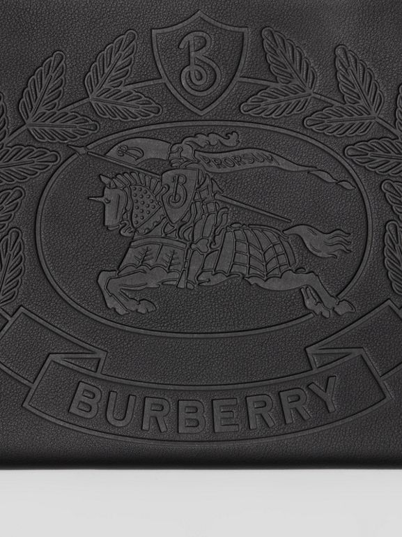 Embossed Crest Leather Zip Pouch in Black - Men | Burberry Canada - cell image 1