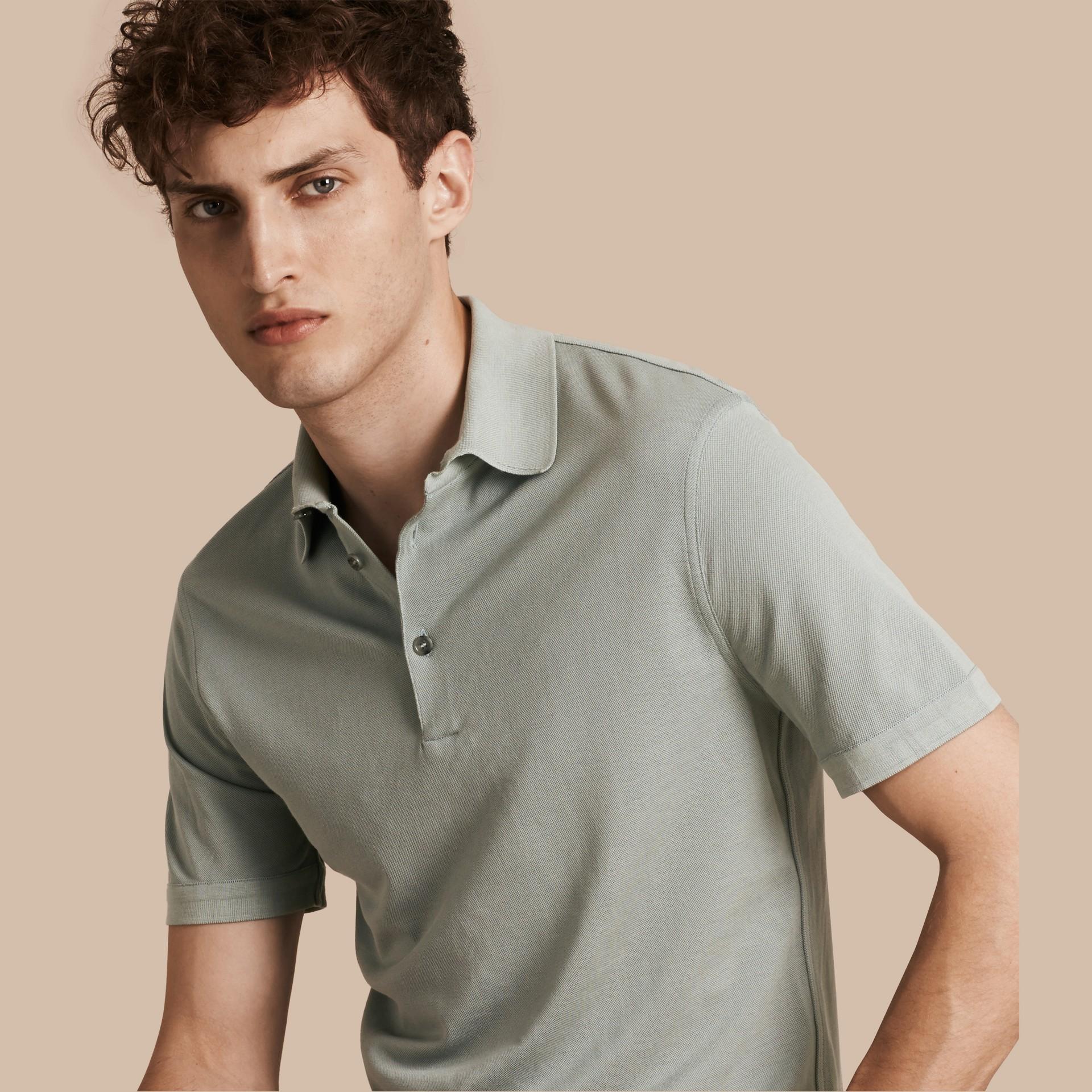 Eucalyptus green Silk Cotton Polo Shirt - gallery image 1