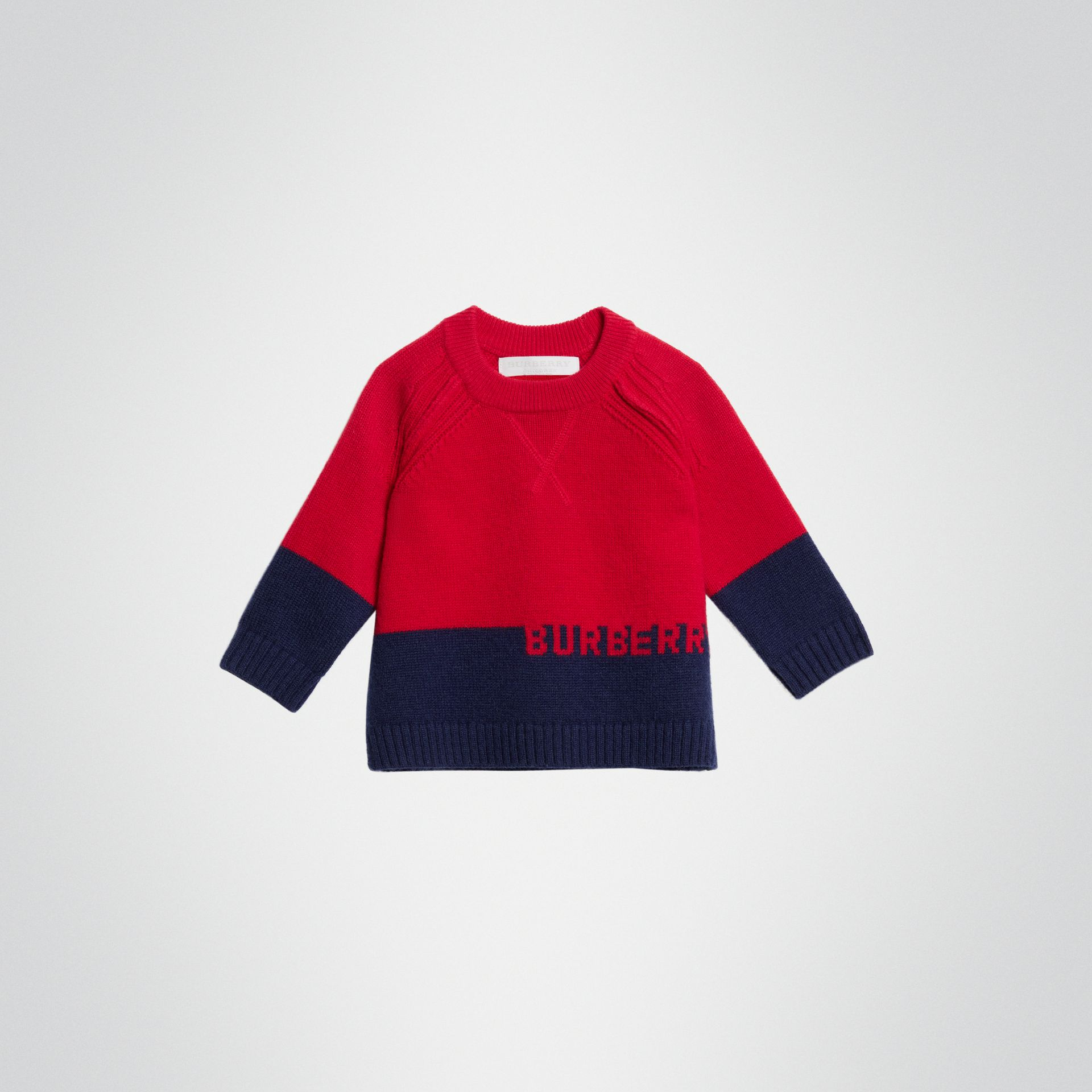 Logo Intarsia Cashmere Sweater in Bright Red - Children | Burberry - gallery image 0