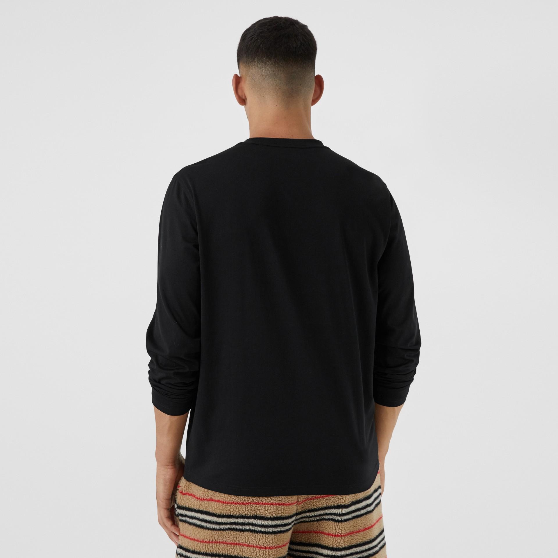 Haut à manches longues en coton avec logo (Noir) - Homme | Burberry - photo de la galerie 2