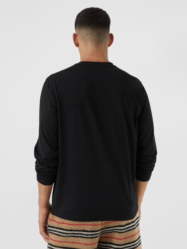 Haut à manches longues en coton avec logo (Noir) - Homme | Burberry - cell image 2