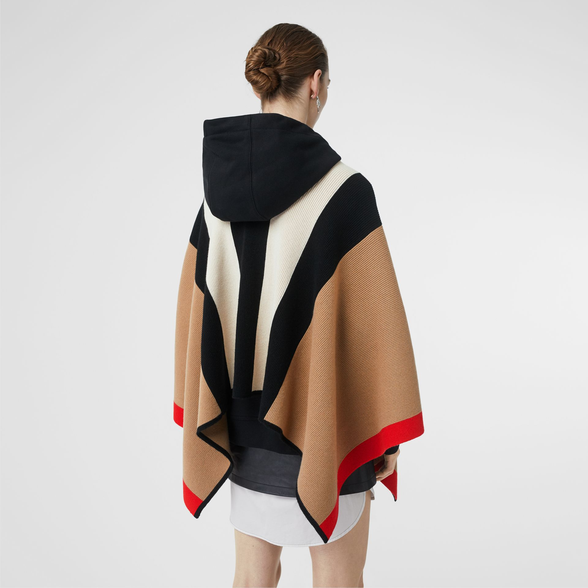 Striped Wool Cashmere Cape in Archive Beige - Women | Burberry - gallery image 2