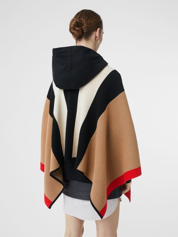 Striped Wool Cashmere Cape in Archive Beige - Women | Burberry United Kingdom - cell image 2