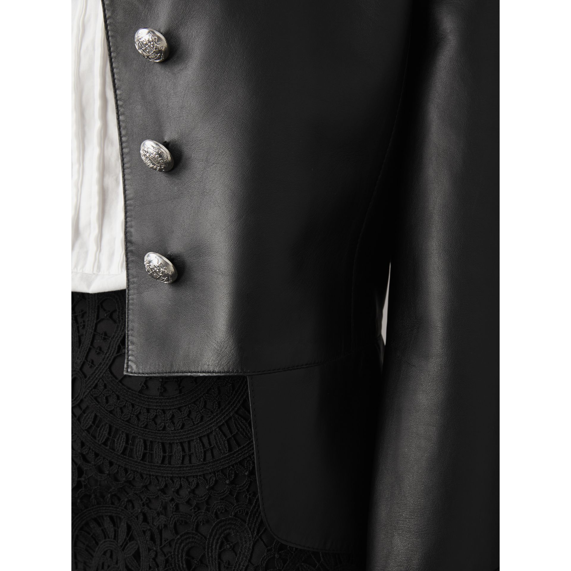 Lambskin Military Jacket in Black - Women | Burberry - gallery image 2