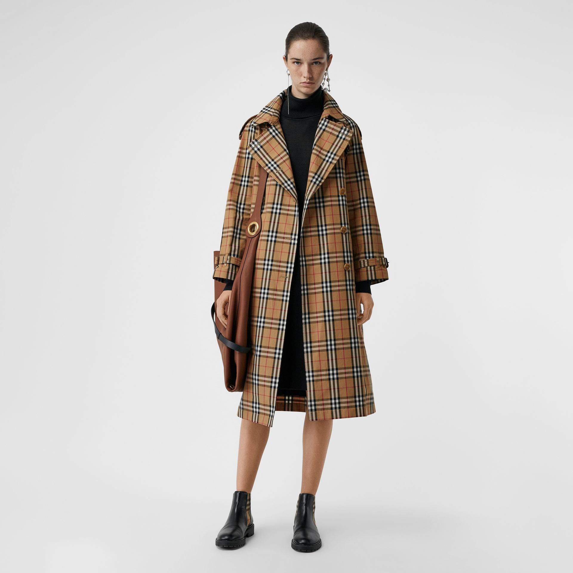 Vintage Check Cotton Trench Coat in Antique Yellow - Women | Burberry - gallery image 0