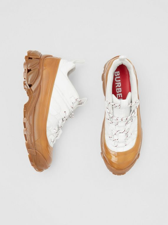 Cotton and Suede Arthur Sneakers in White/amber