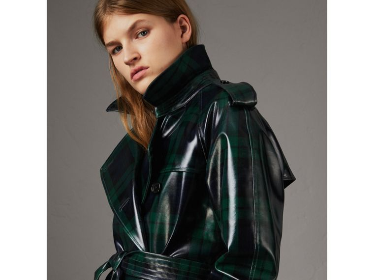 Laminated Tartan Wool Trench Coat in Navy - Women | Burberry - cell image 4