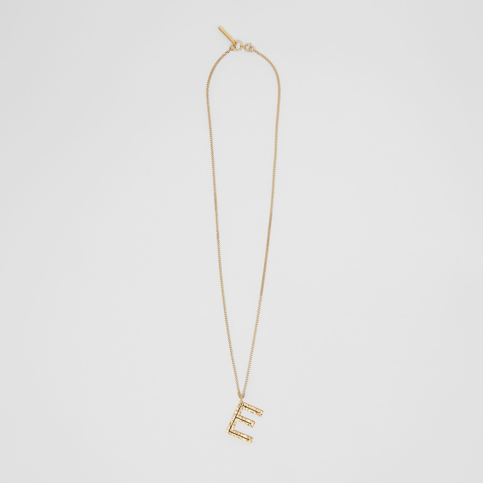 'E' Alphabet Charm Gold-plated Necklace in Light - Women | Burberry United Kingdom - gallery image 0