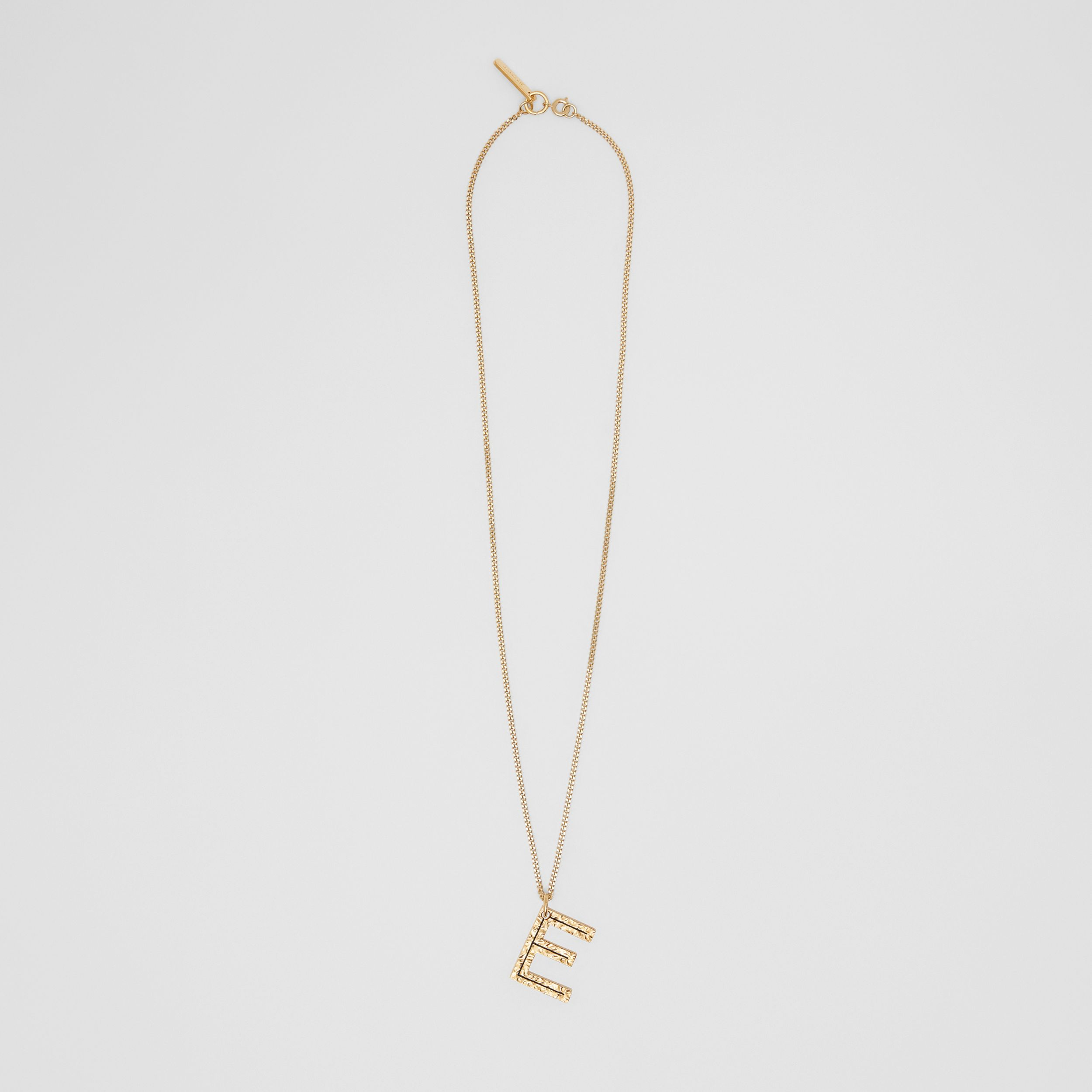 'E' Alphabet Charm Gold-plated Necklace in Light - Women | Burberry - 1