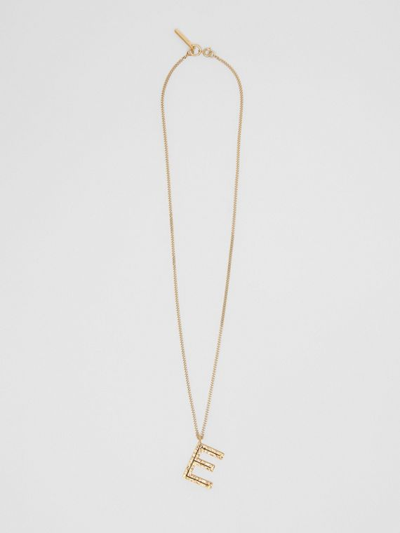 'E' Alphabet Charm Gold-plated Necklace in Light
