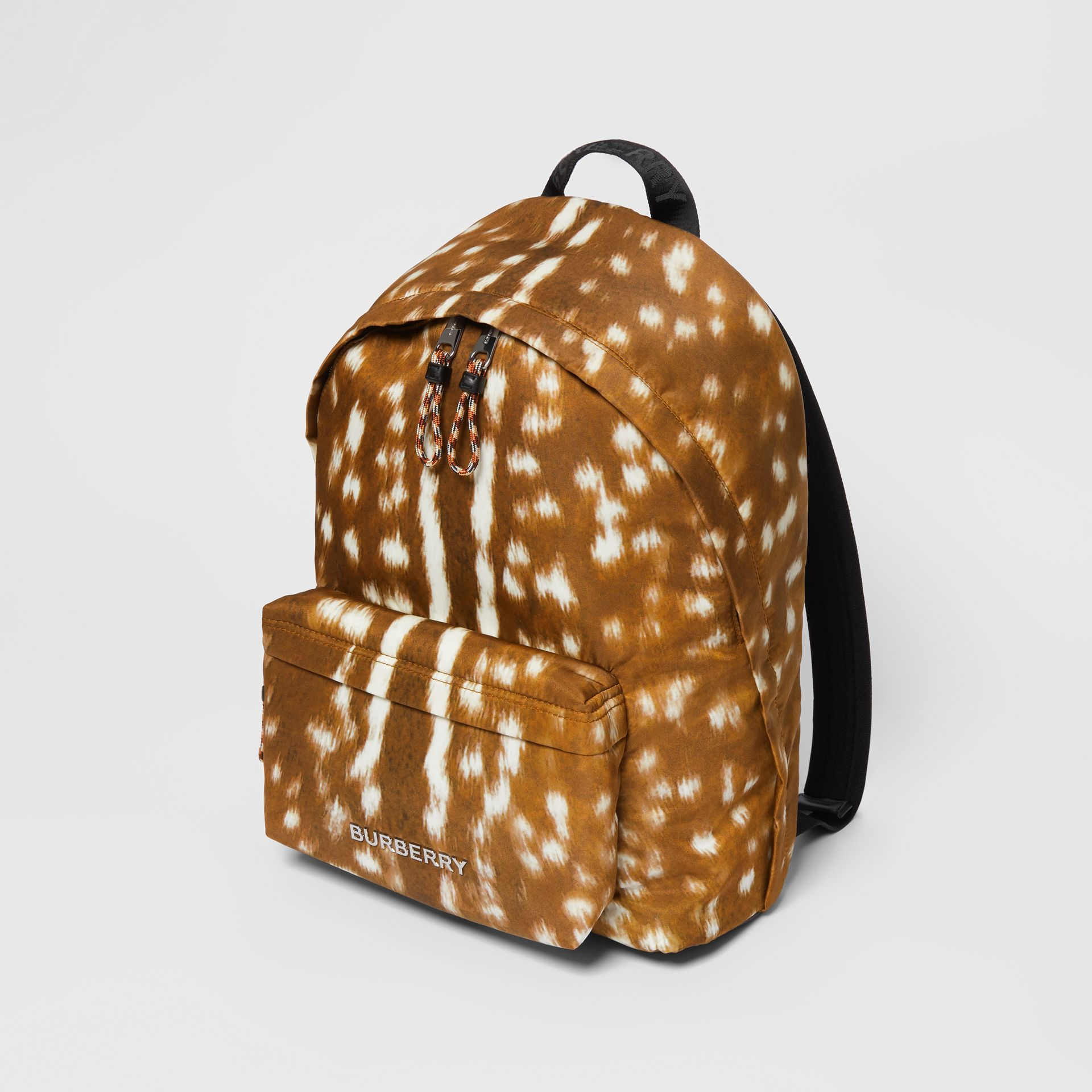 Deer Print Nylon Backpack in Tan/white | Burberry - gallery image 3