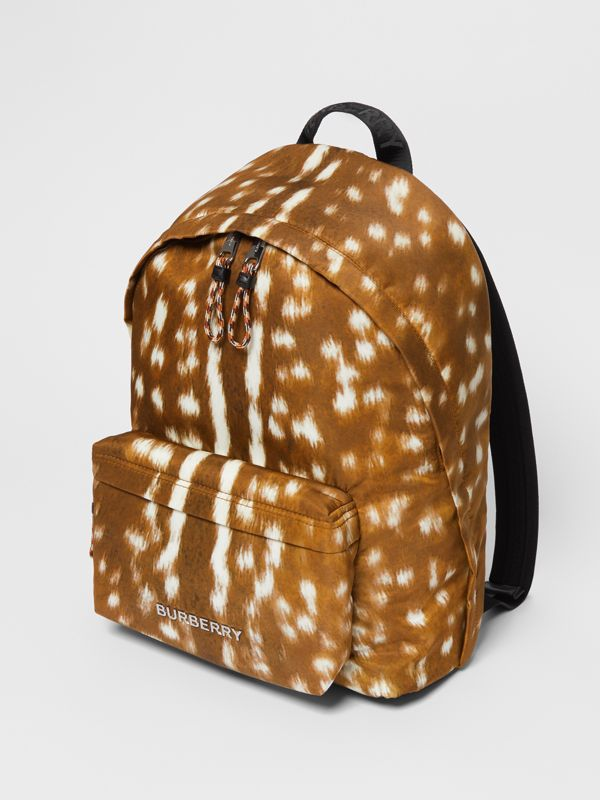 Deer Print Nylon Backpack in Tan/white | Burberry - cell image 3