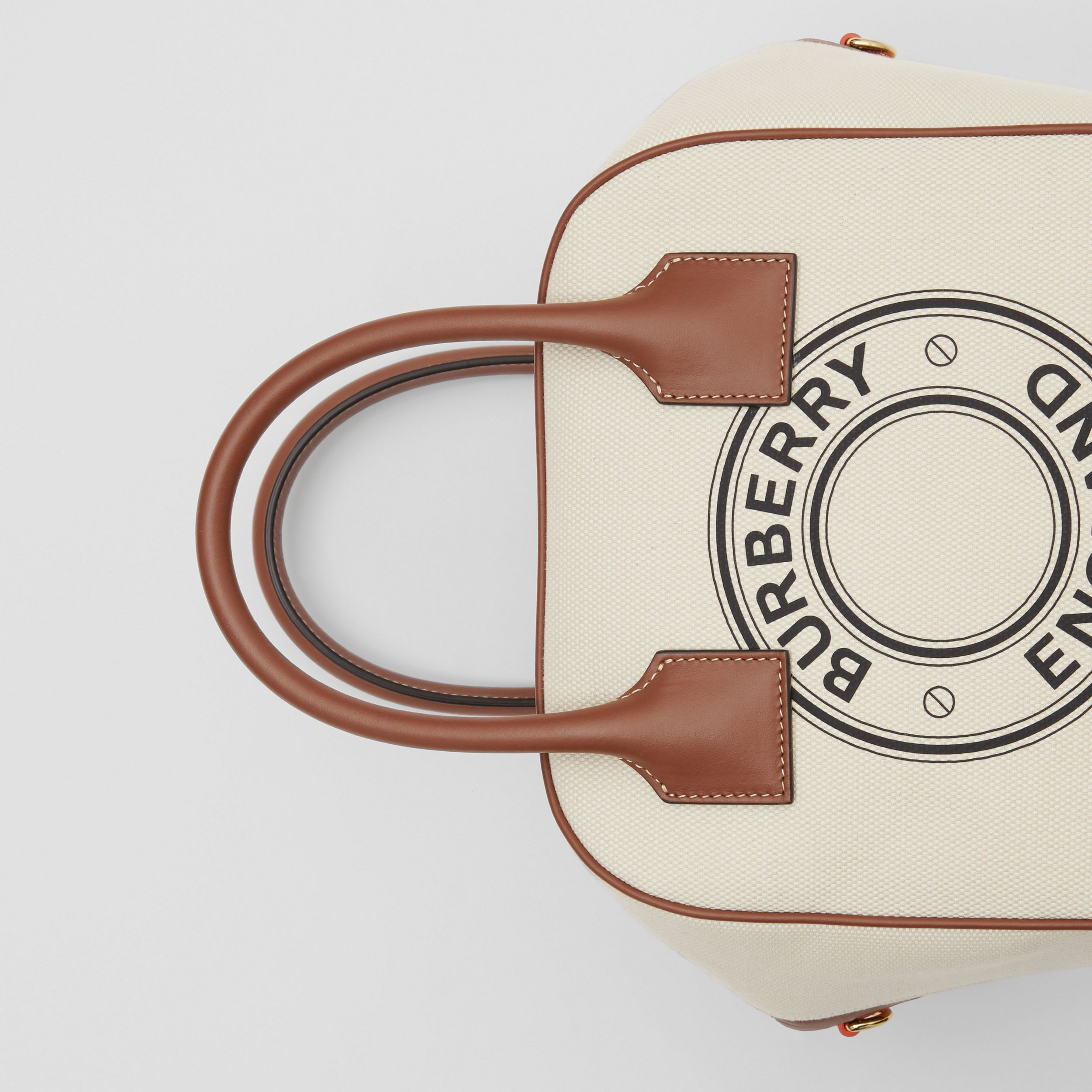 Small Logo Graphic Cotton Canvas Cube Bag in Natural/tan - Women | Burberry Australia - 2