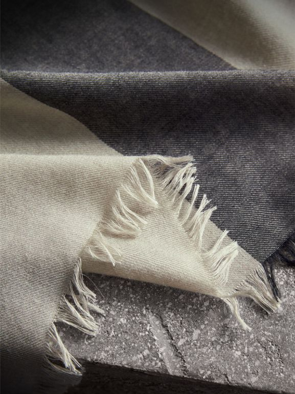 Check Modal Wool Scarf in Sandstone - Women | Burberry Australia - cell image 1