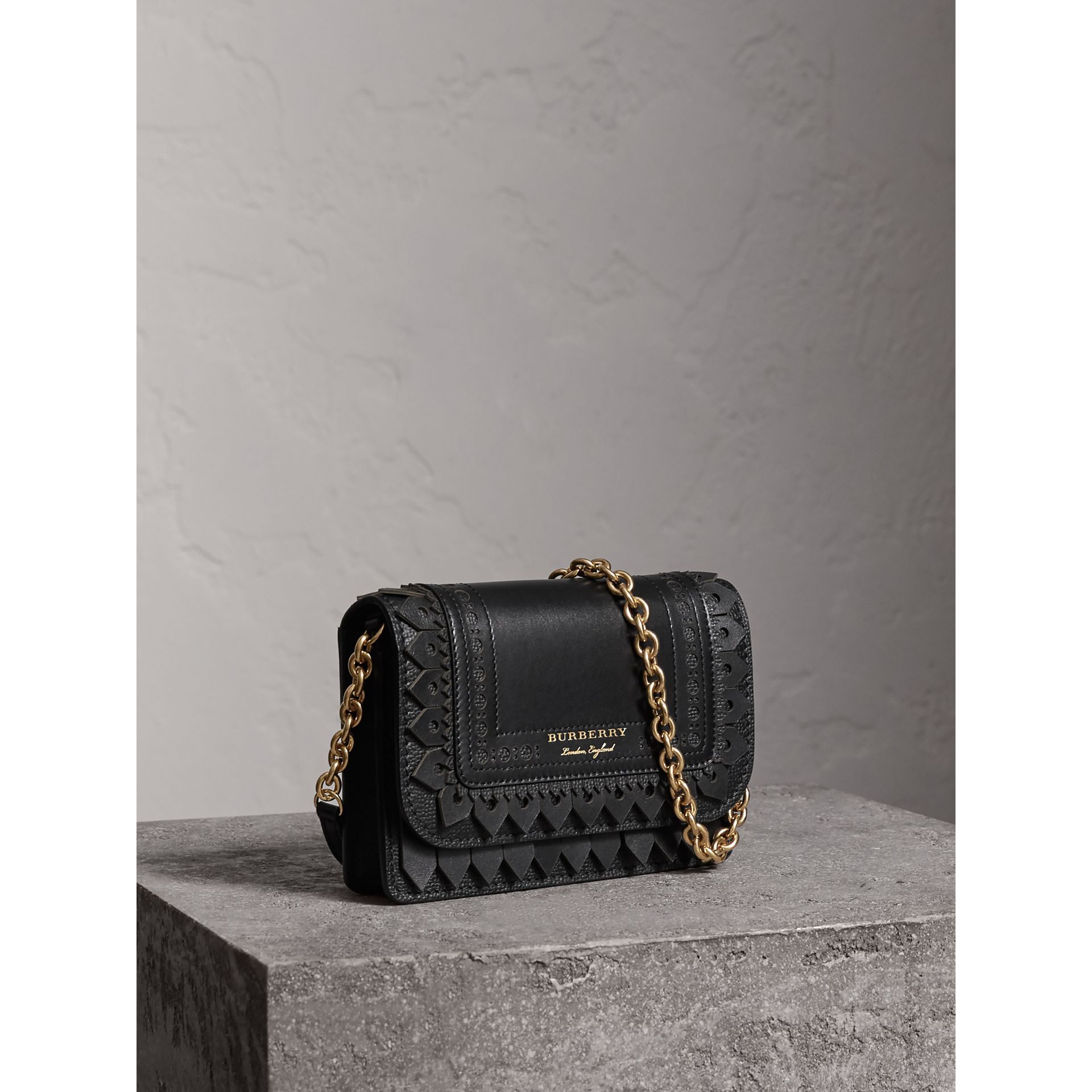 Brogue Detail Leather Wallet with Detachable Strap in Black - Women | Burberry - gallery image 7