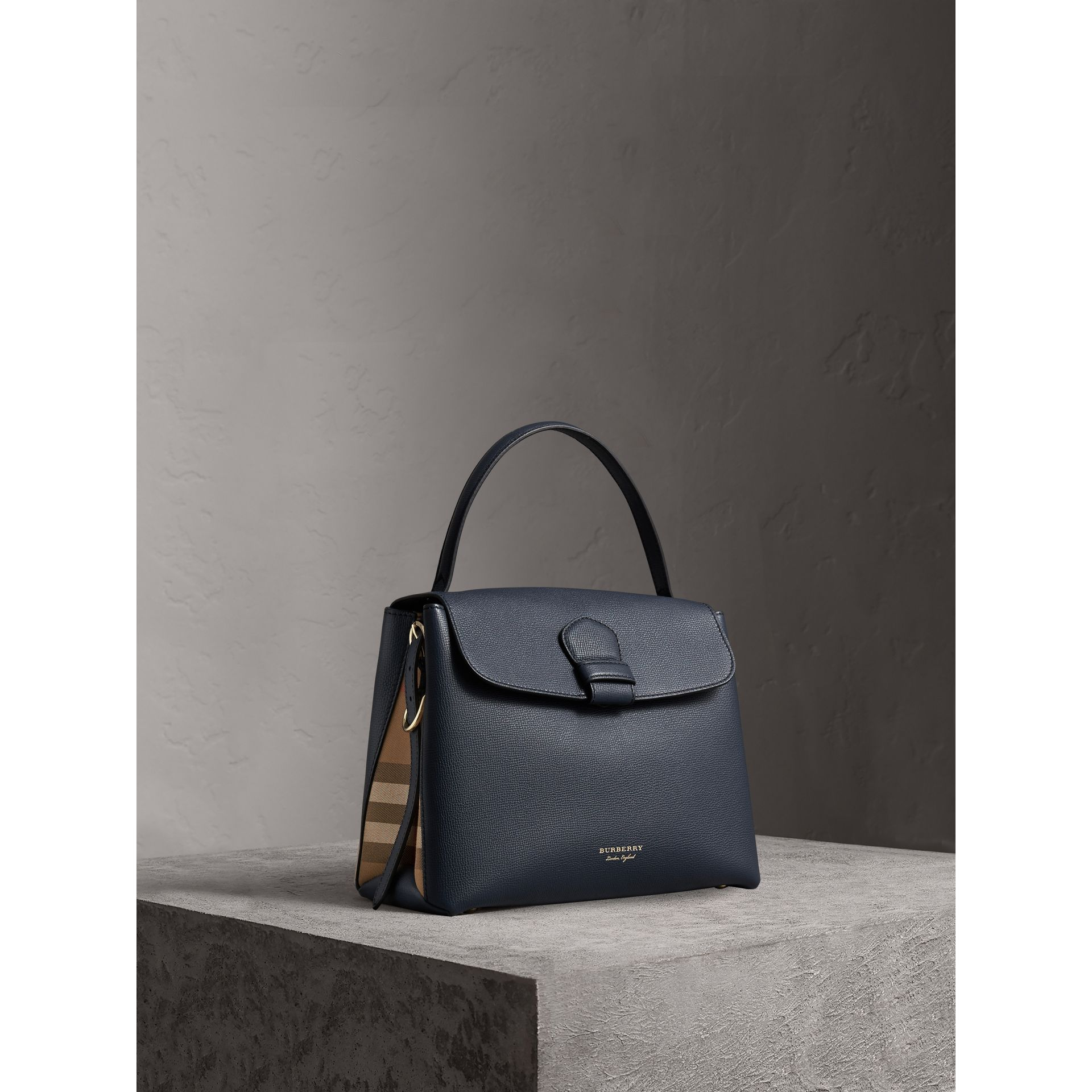 Medium Grainy Leather and House Check Tote Bag in Ink Blue - Women | Burberry - gallery image 0