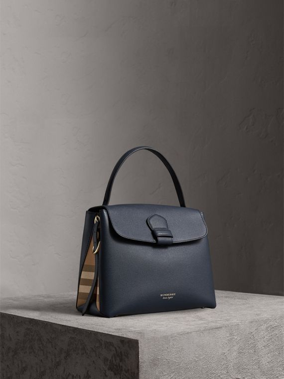 Medium Grainy Leather and House Check Tote Bag in Ink Blue