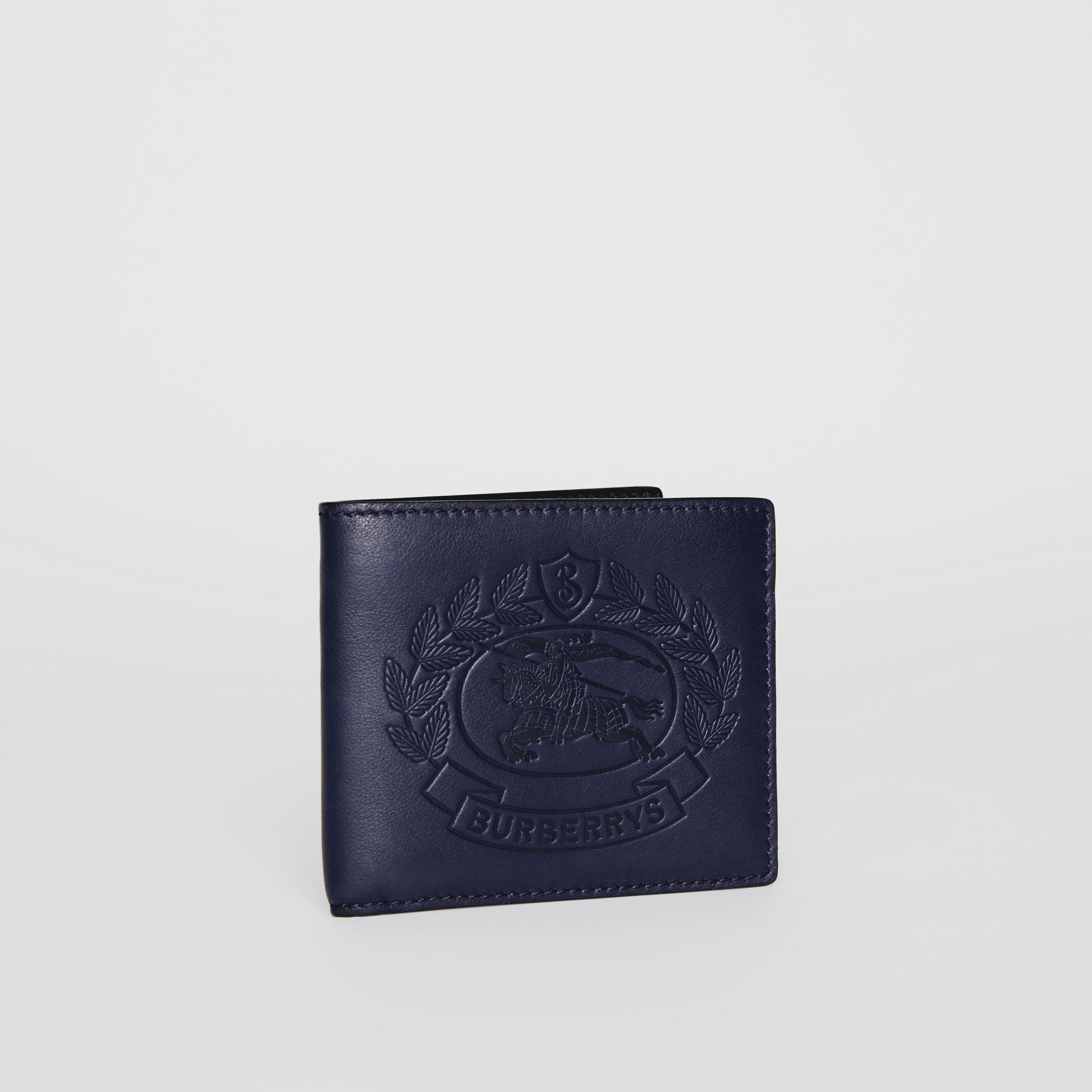Embossed Crest Leather International Bifold Wallet in Regency Blue - Men | Burberry United Kingdom - gallery image 3