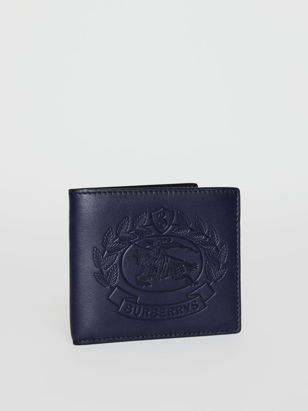 Embossed Crest Leather International Bifold Wallet in Regency Blue - Men | Burberry - cell image 3
