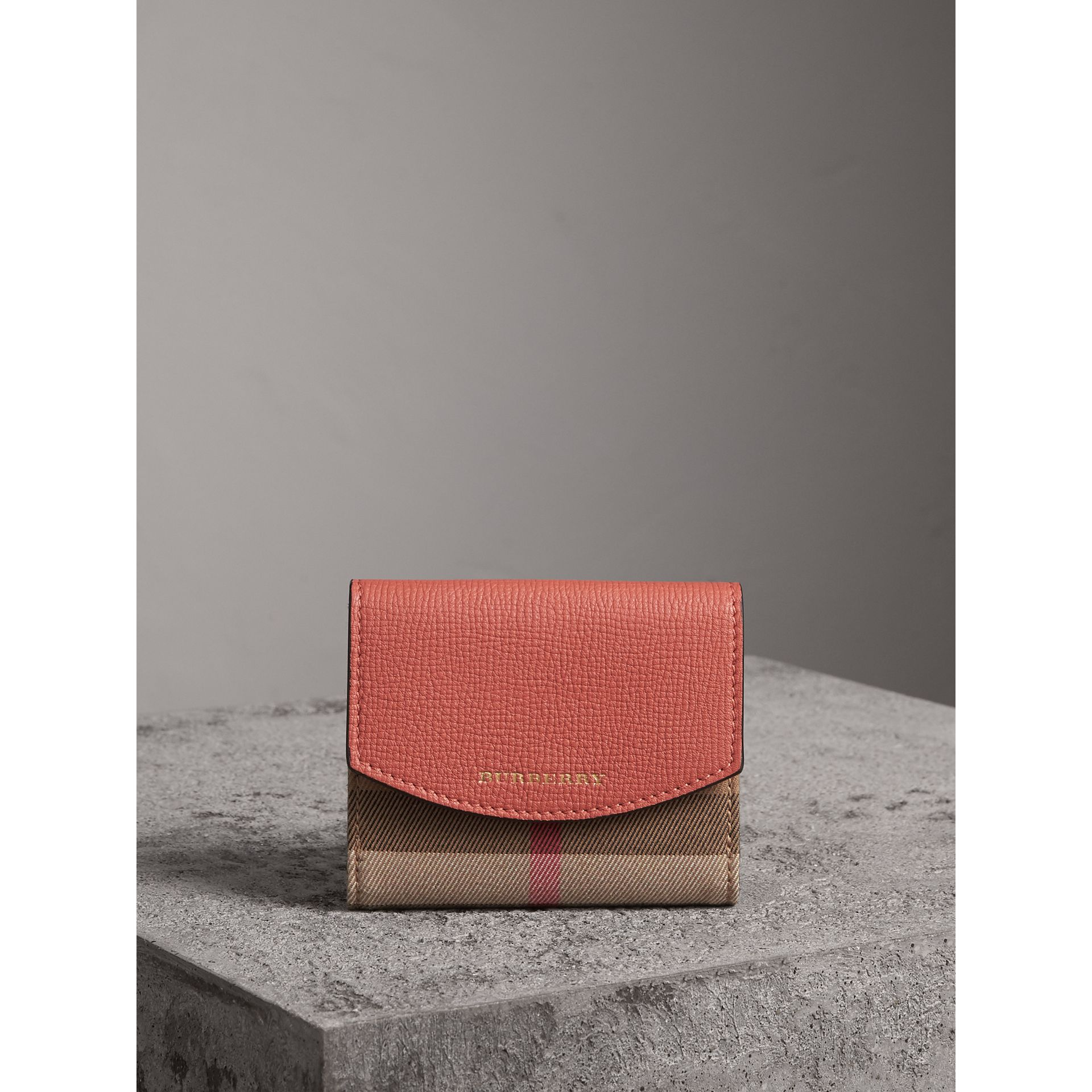 House Check and Leather Wallet in Cinnamon Red - Women | Burberry - gallery image 4