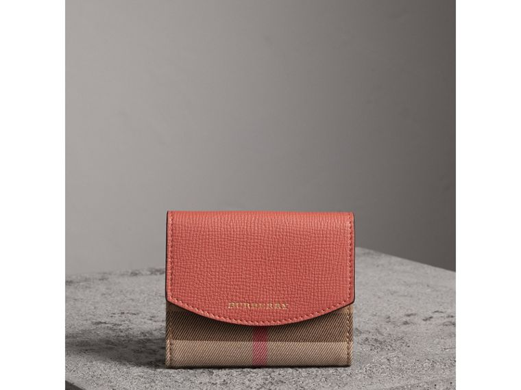 House Check and Leather Wallet in Cinnamon Red - Women | Burberry - cell image 4