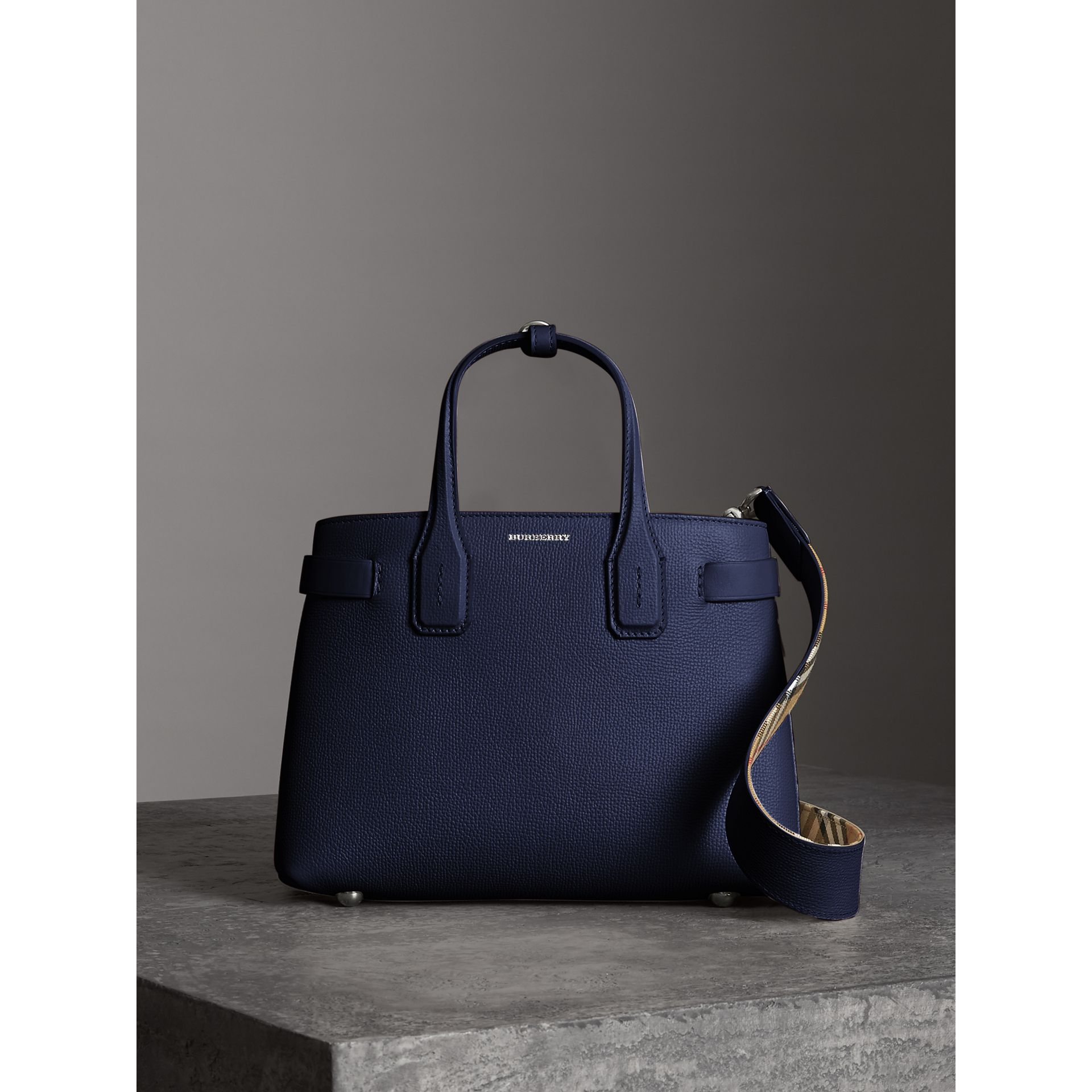 The Small Banner in Leather and Vintage Check in Regency Blue - Women | Burberry Hong Kong - gallery image 6
