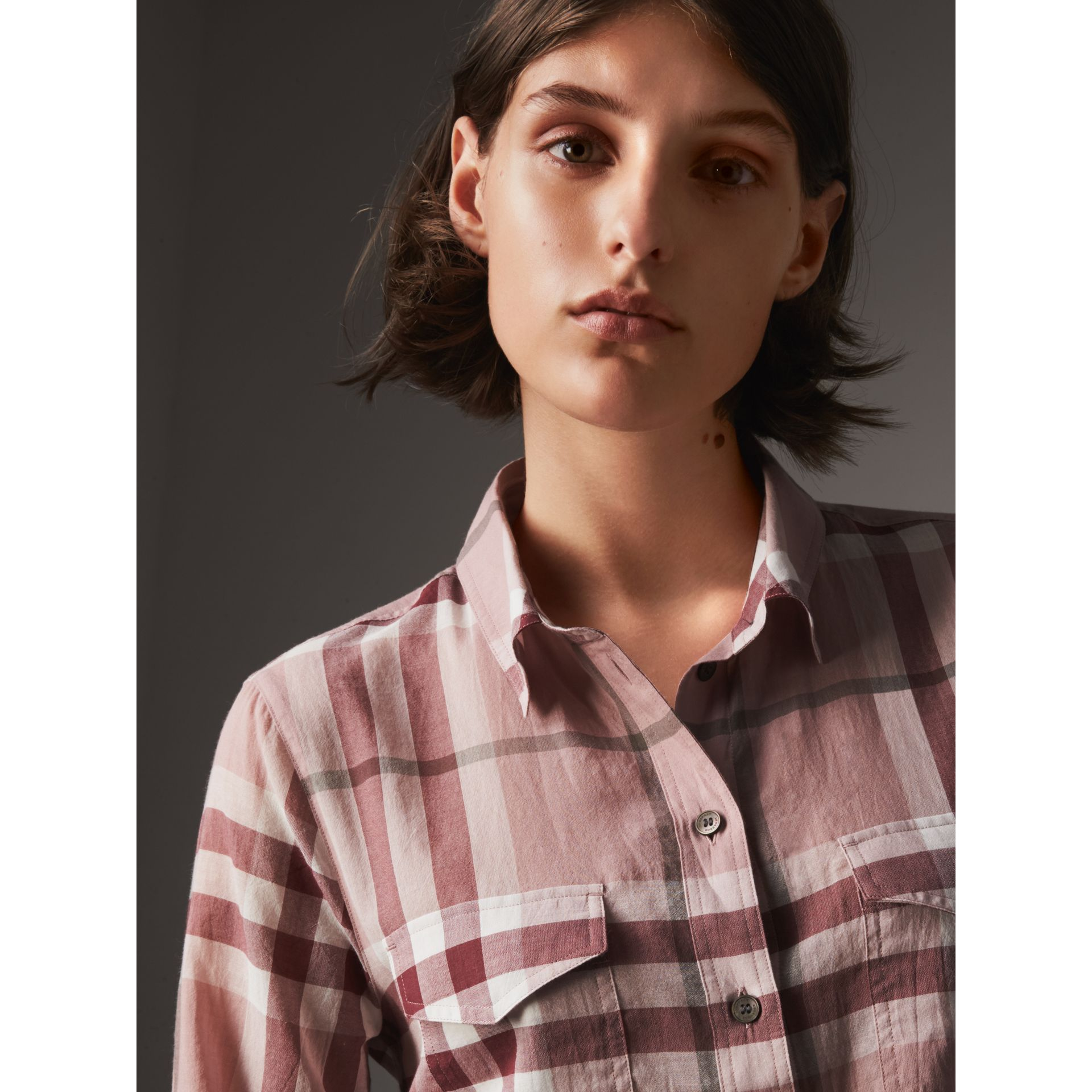 Check Cotton Shirt in Antique Pink - Women | Burberry - gallery image 1