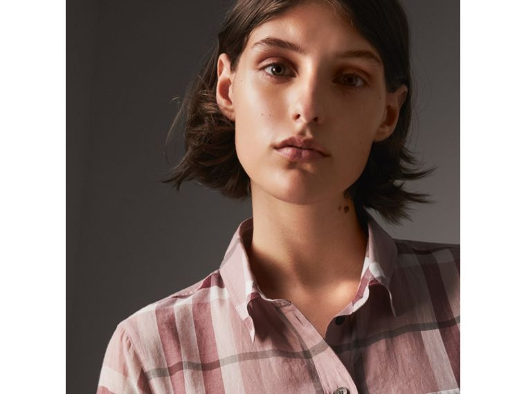 Check Cotton Shirt in Antique Pink - Women | Burberry United States - cell image 1