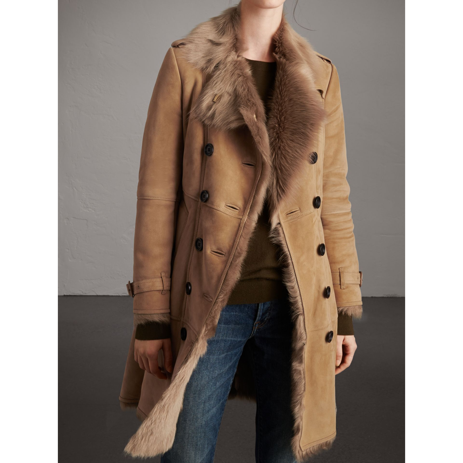 Shearling Trench Coat in Camel - Women | Burberry Australia - gallery image 5