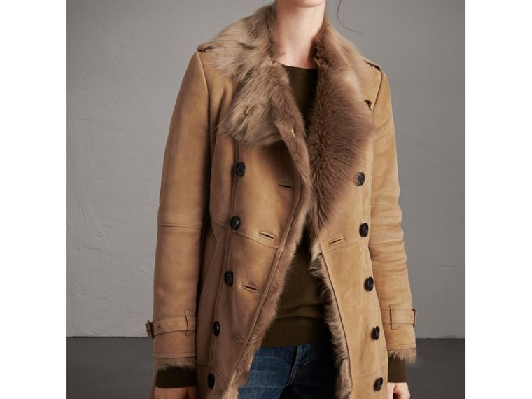 Shearling Trench Coat in Camel - Women | Burberry - cell image 4