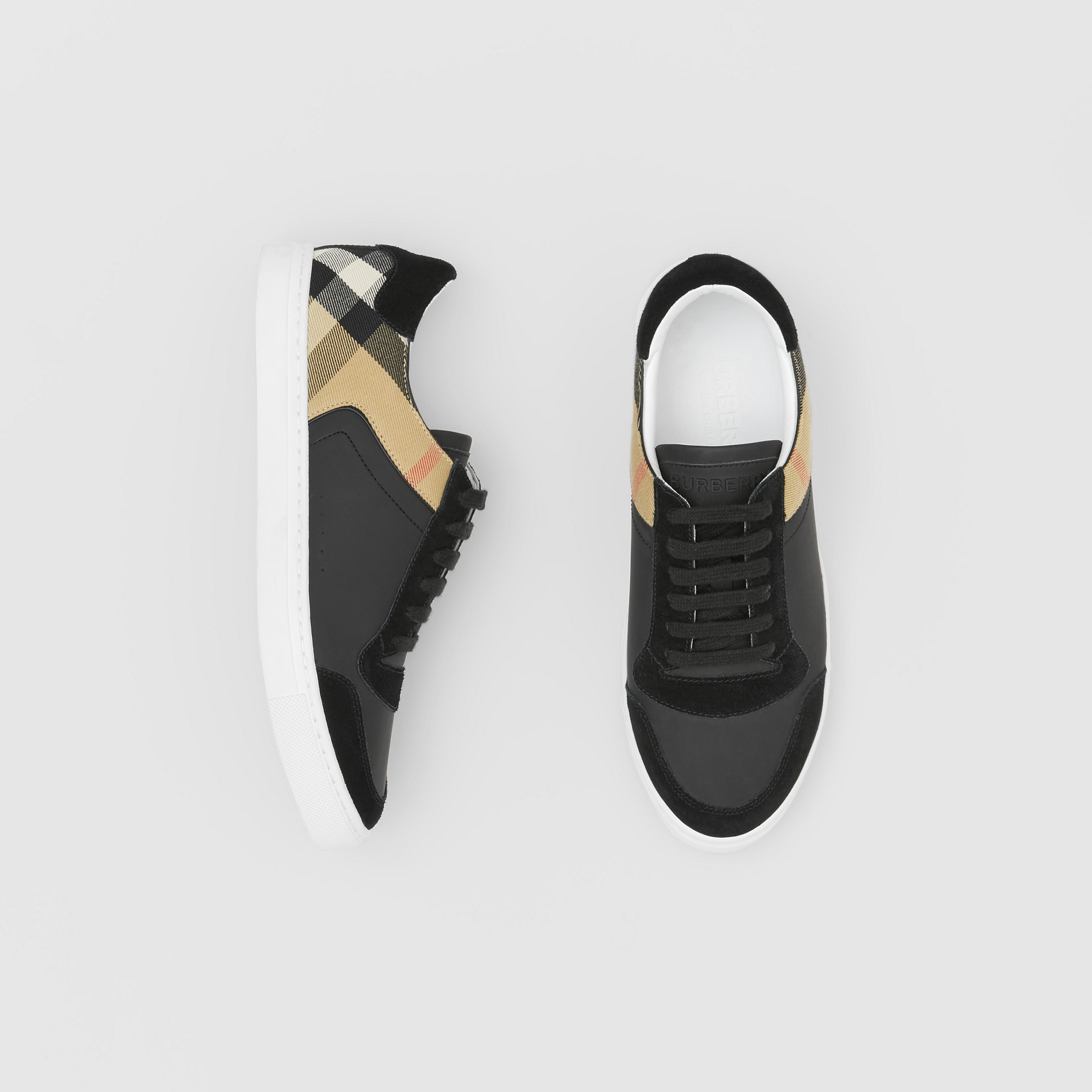 Leather, Suede and House Check Sneakers in Black - Men | Burberry - 1