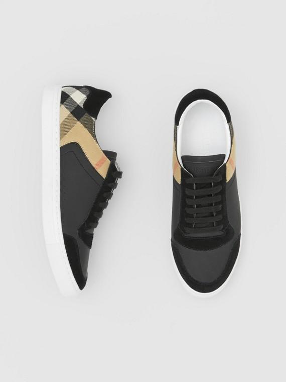Sportschuhe aus Leder, Veloursleder und House Check-Gewebe (Schwarz)