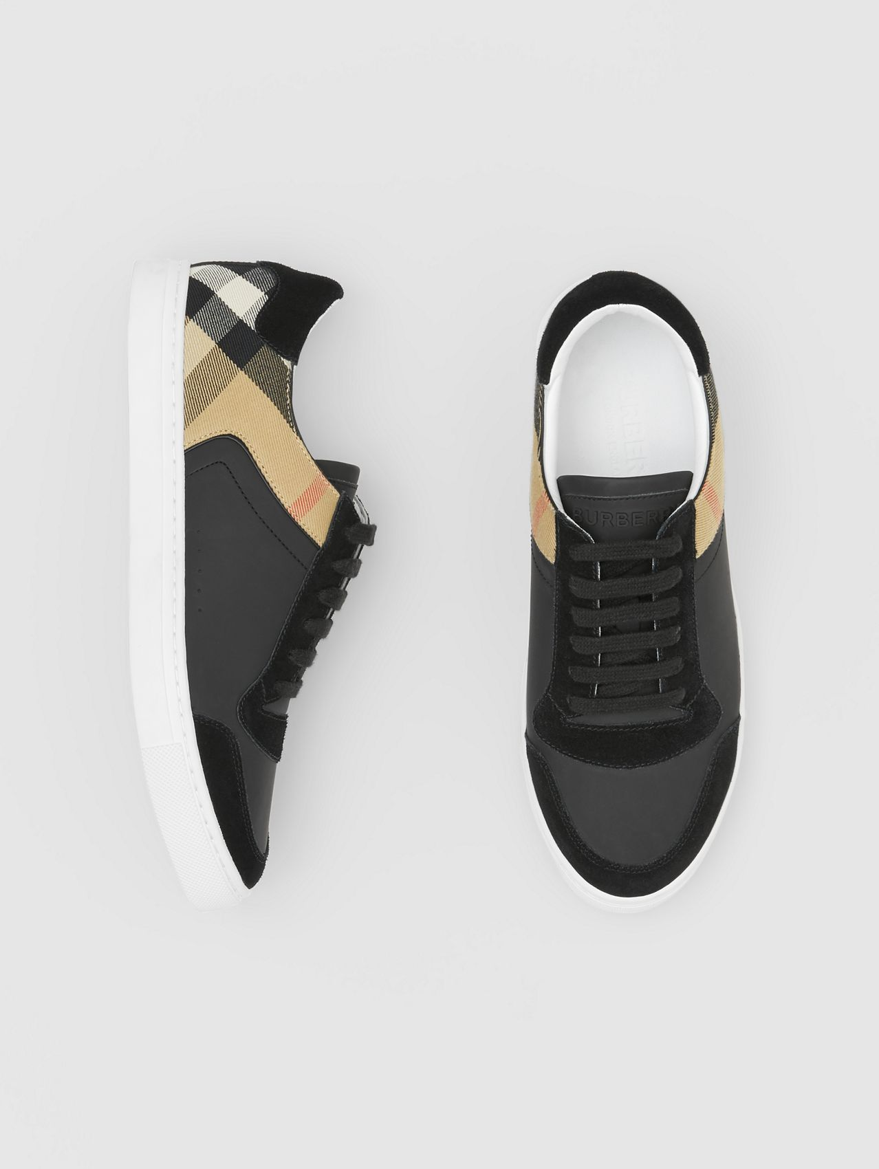 Leather, Suede and House Check Sneakers in Black