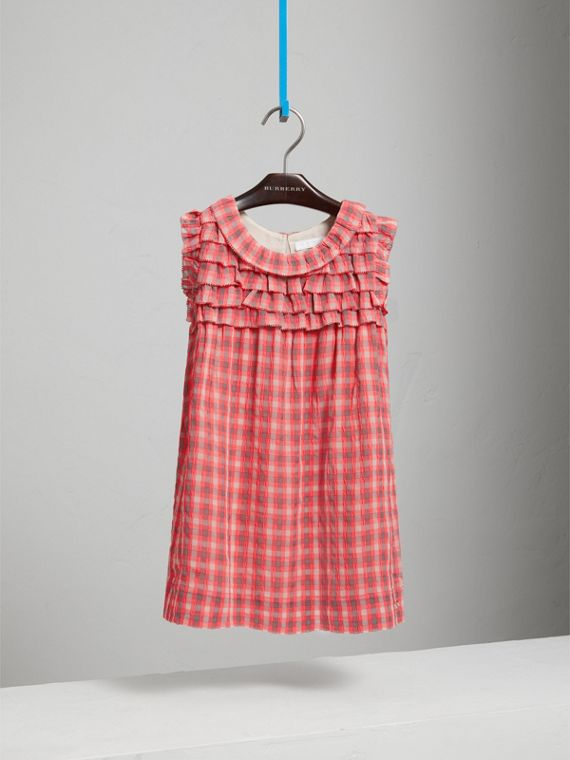 Sleeveless Check Seersucker Dress in Bright Coral Pink - Girl | Burberry - cell image 2