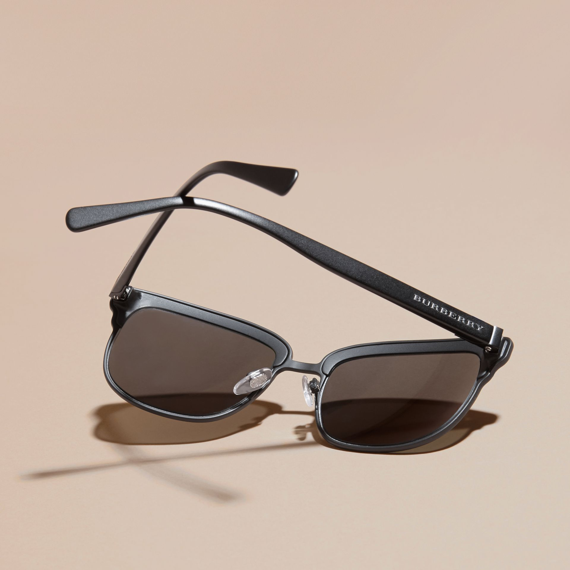 Textured Front Square Frame Sunglasses in Black - Men | Burberry - gallery image 3