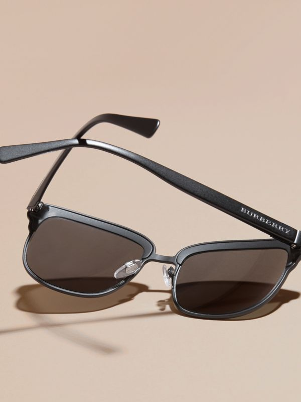 Textured Front Square Frame Sunglasses in Black - Men | Burberry United Kingdom - cell image 3