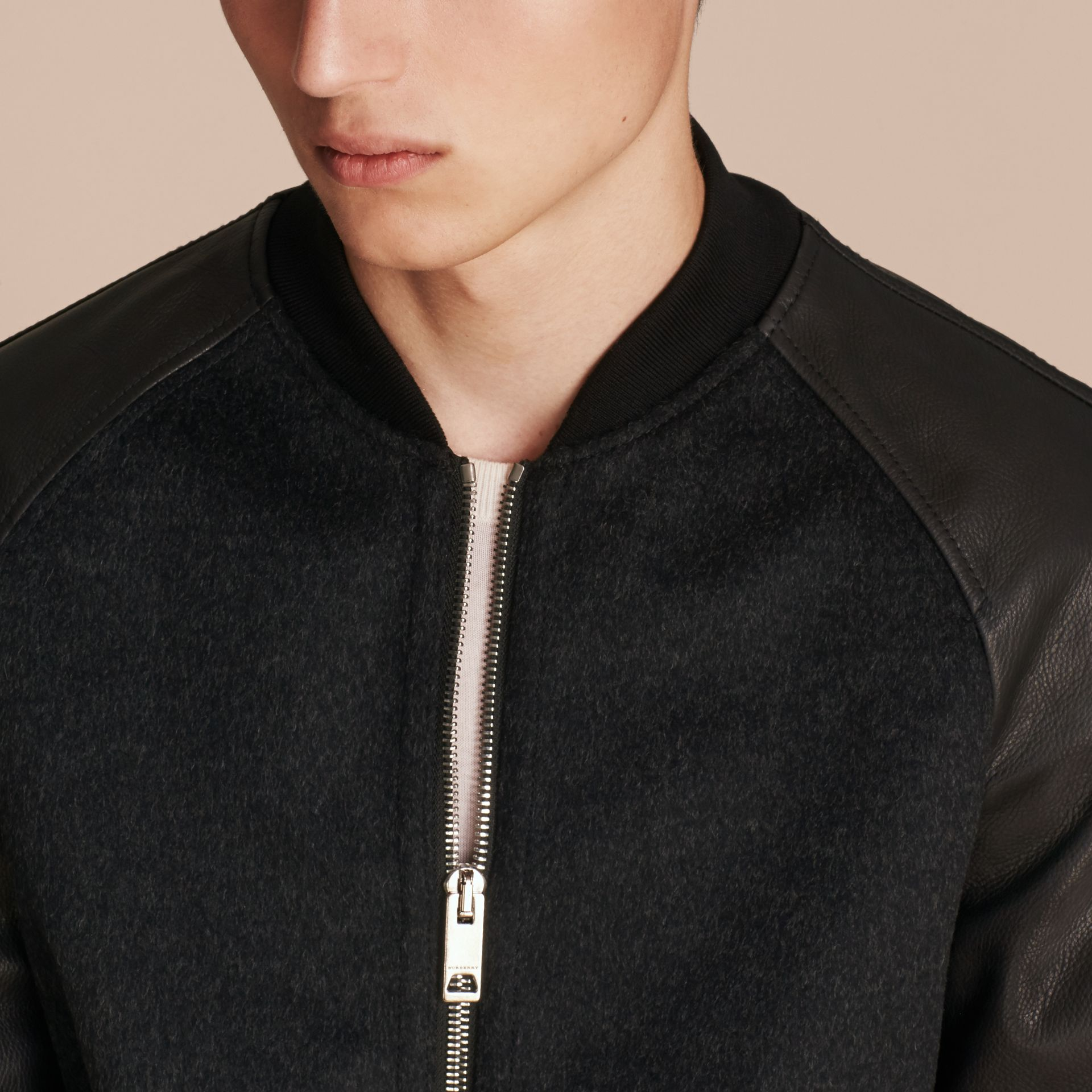 Dark grey melange Wool Cashmere Bomber Jacket with Leather Sleeves - gallery image 5