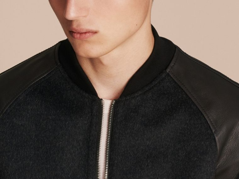 Dark grey melange Wool Cashmere Bomber Jacket with Leather Sleeves - cell image 4