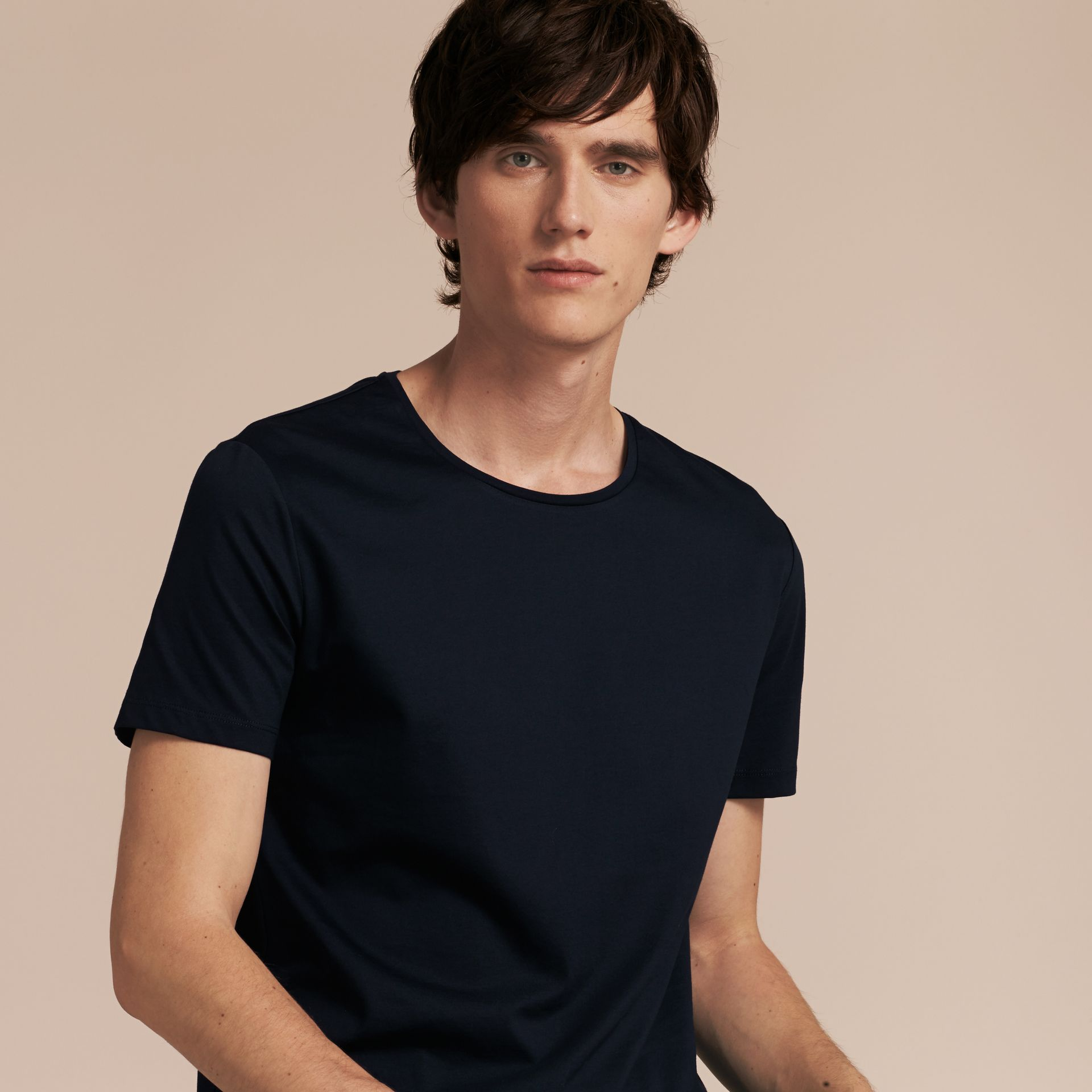 Crew Neck Cotton T-shirt Navy - gallery image 6