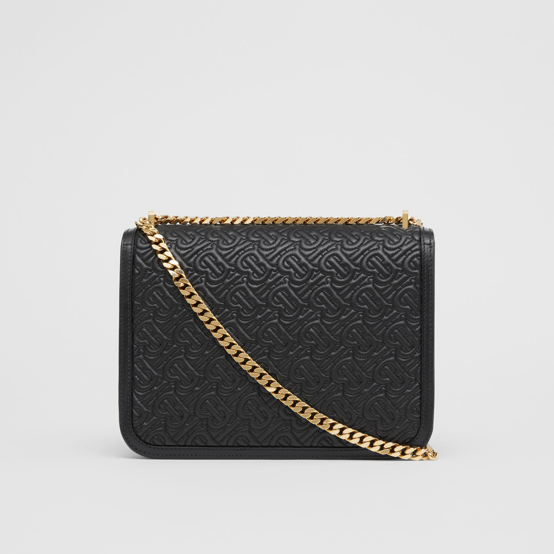 Medium Quilted Monogram Lambskin TB Bag in Black - Women | Burberry Canada - gallery image 7
