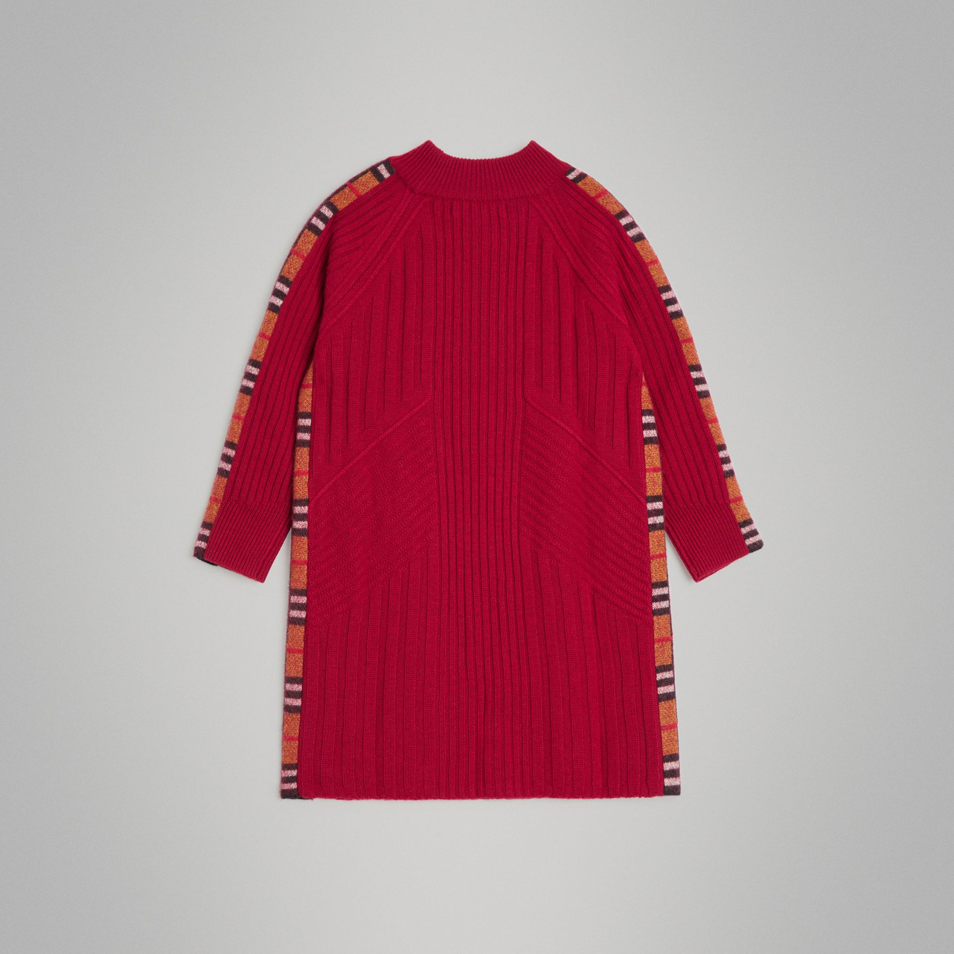 Check Detail Wool Cashmere Dress in Burgundy Red | Burberry Australia - gallery image 3