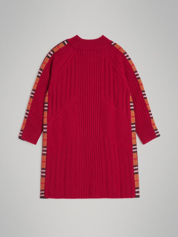 Check Detail Wool Cashmere Dress in Burgundy Red | Burberry - cell image 3