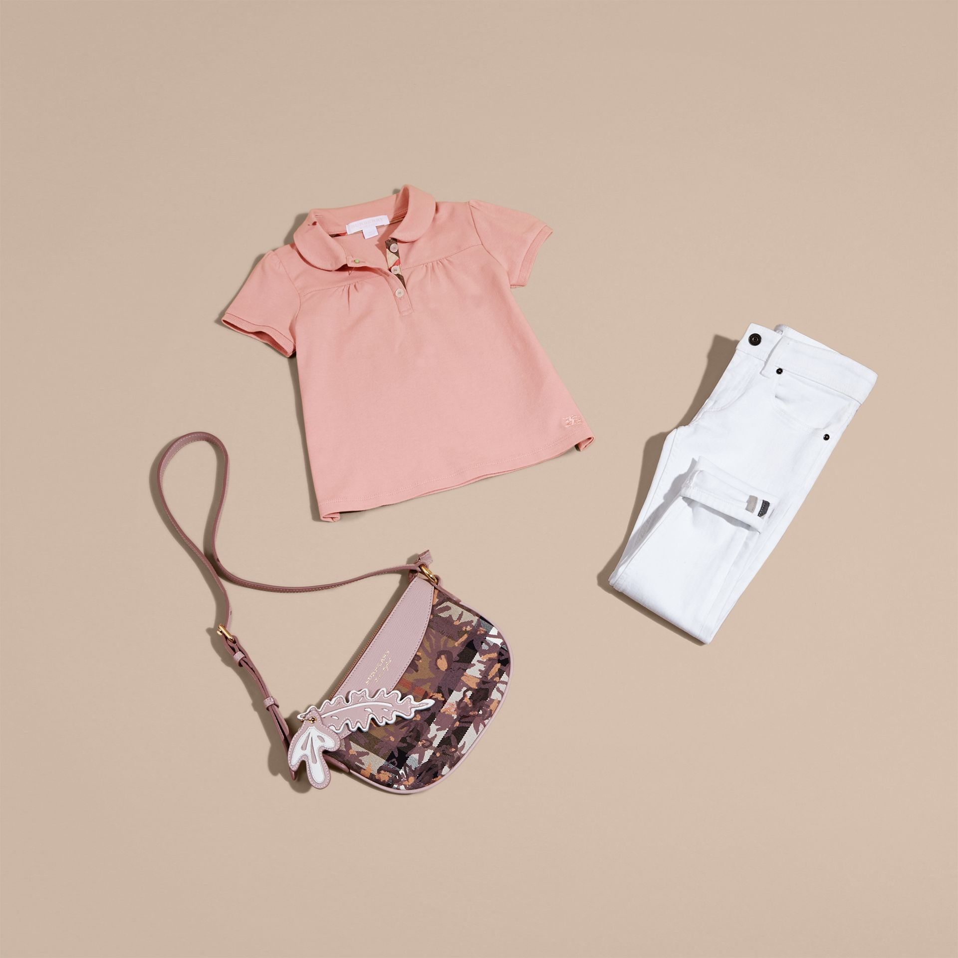 Peter Pan Collar Cotton Piqué Polo Shirt in Ash Rose - gallery image 5