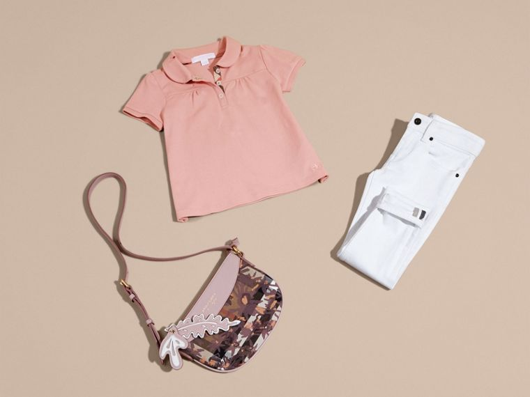 Peter Pan Collar Cotton Piqué Polo Shirt in Ash Rose - cell image 4