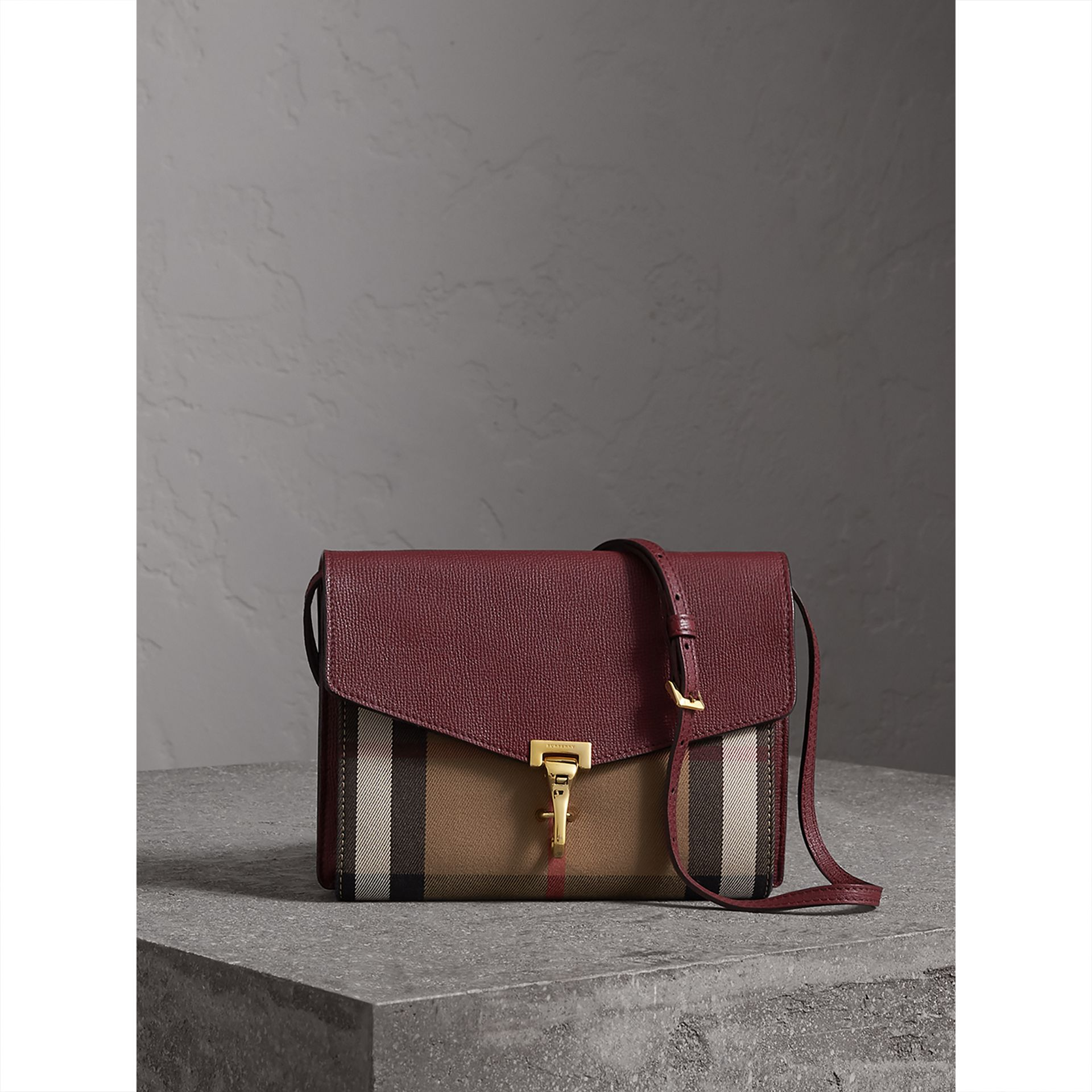 Small Leather and House Check Crossbody Bag in Mahogany Red - Women | Burberry Australia - gallery image 1
