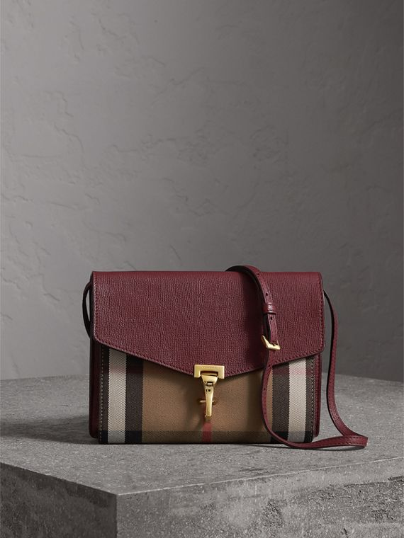 Small Leather and House Check Crossbody Bag in Mahogany Red - Women | Burberry