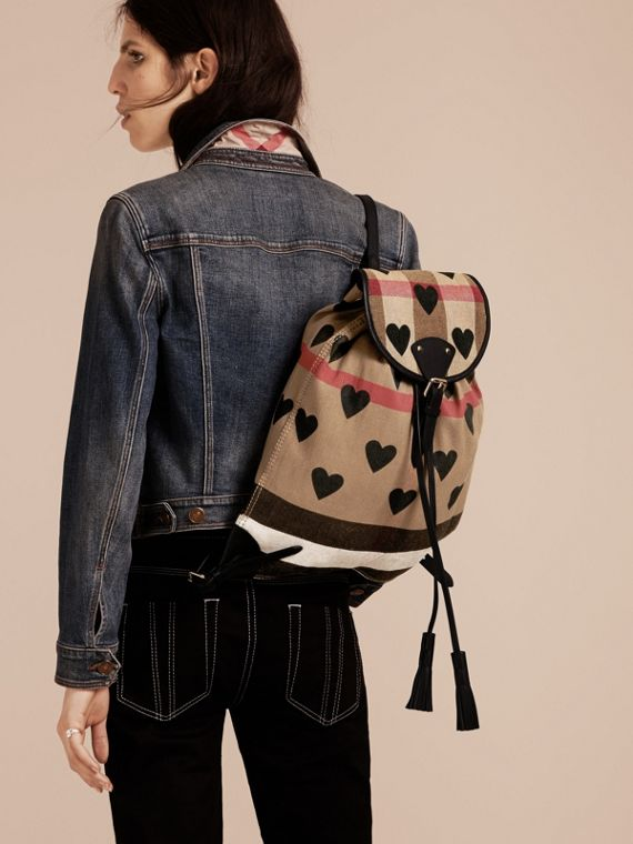 Black Heart Print Canvas Check Backpack with Leather Trim Black - cell image 2