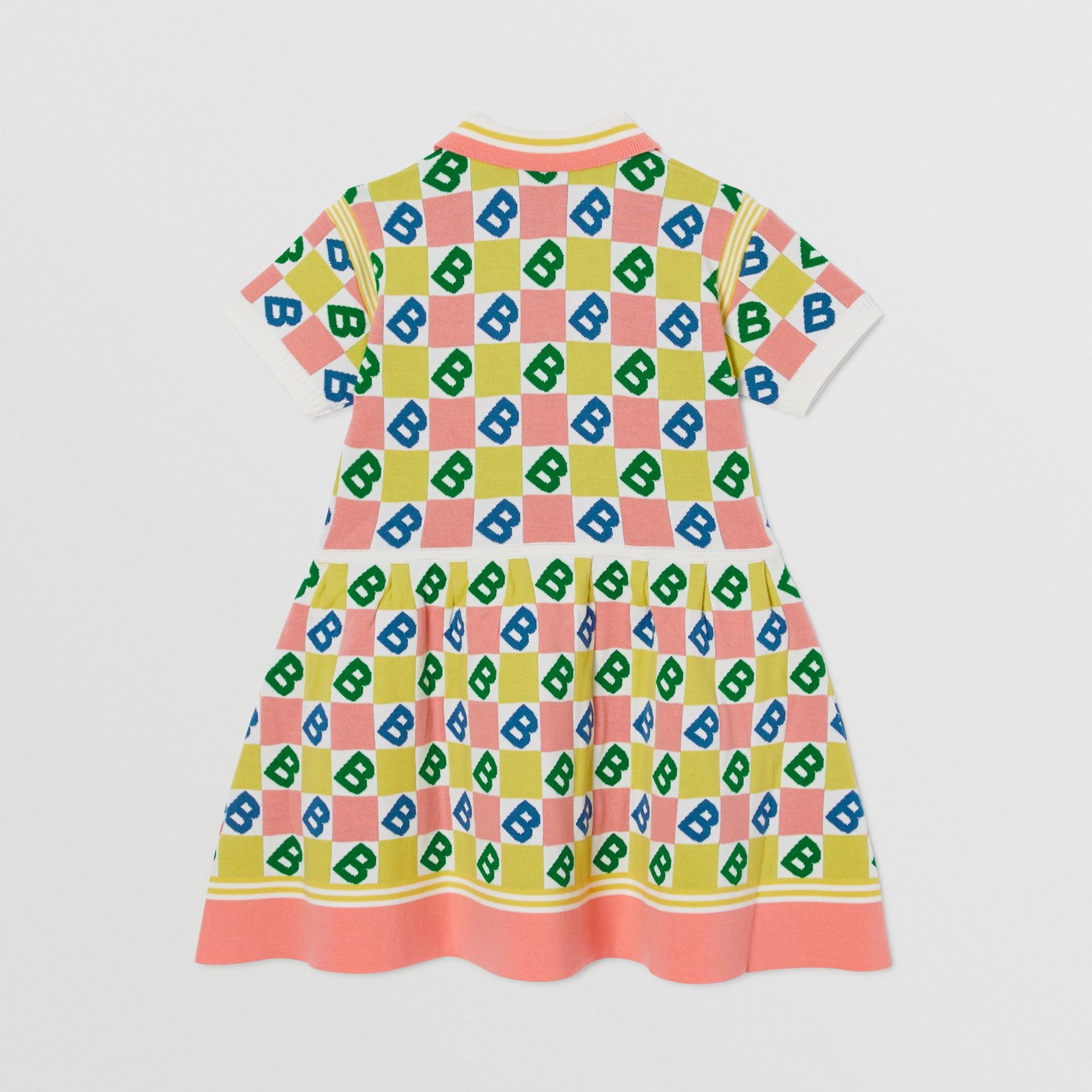 B Motif Merino Wool Cotton Cashmere Polo Shirt Dress in Peach | Burberry - gallery image 3