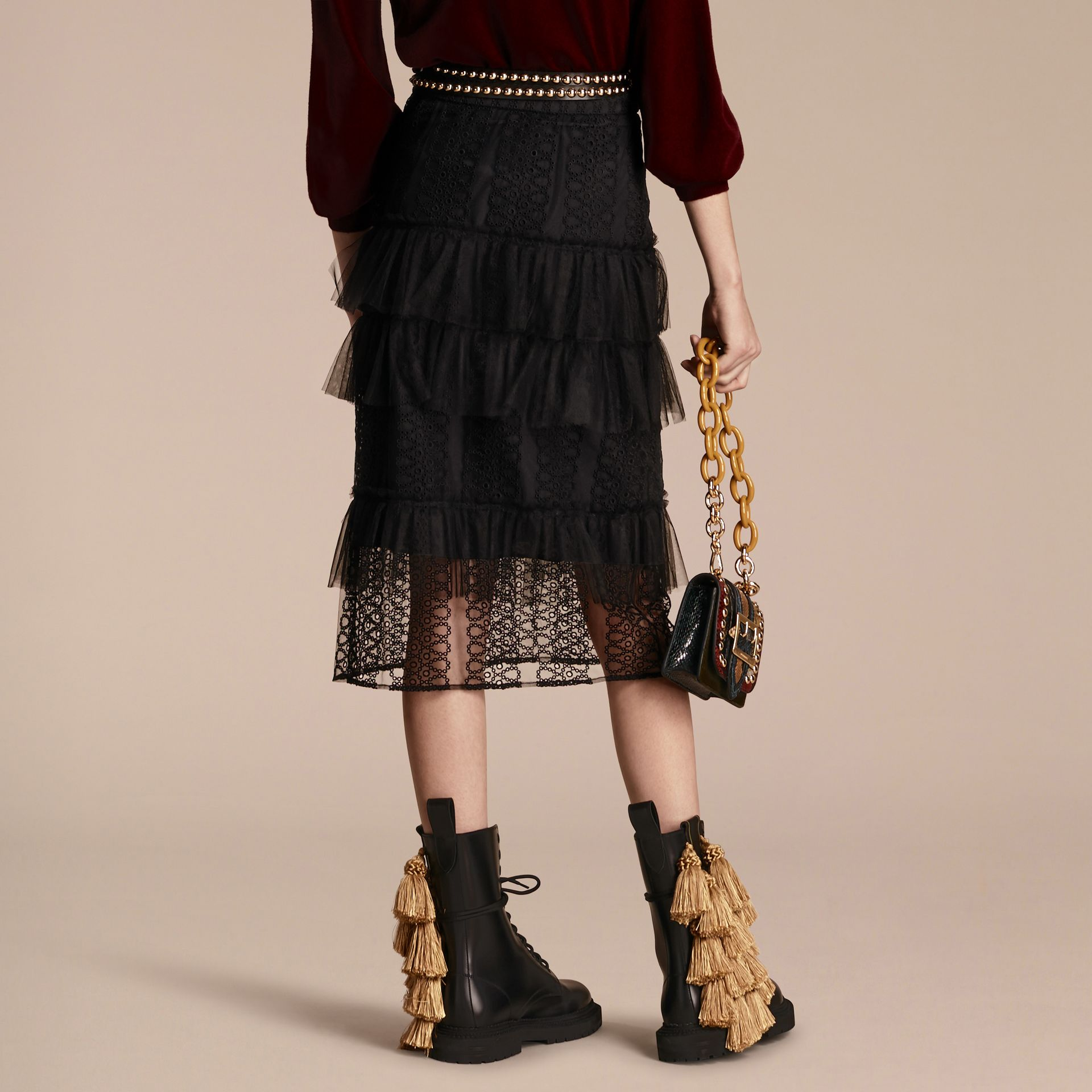 Black Tiered Braided Tulle Column Skirt with Ruffles - gallery image 3