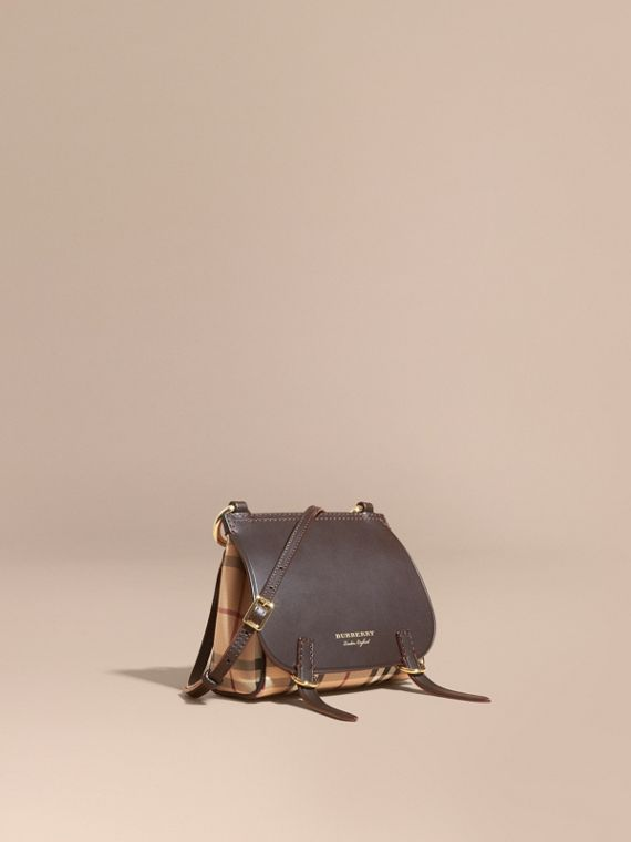 The Baby Bridle Bag in Leather and Haymarket Check in Dark Clove Brown